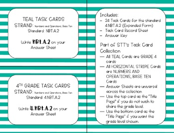 4.NBT.A.2 Expanded Form + Number Name Task Cards