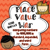 4.NBT.A.2 NO PREP Math Game- Place Value War: Comparing Numbers