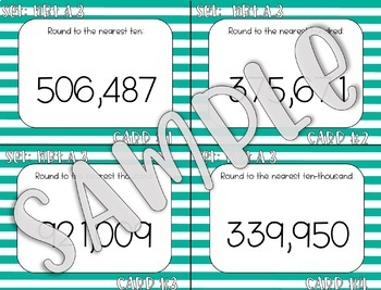 4.NBT.A.3 Rounding Whole Numbers up to 1,000,000 Task Cards