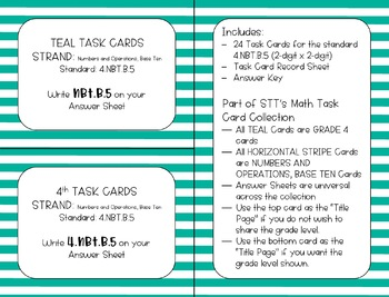 4.NBT.B.5 2-Digit X 2-Digit Task Cards