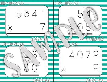 4.NBT.B.5 4-Digit X 1-Digit AND 2-Digit X 2-Digit Task Cards