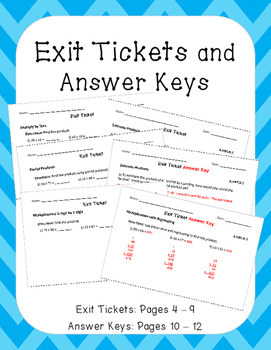 4.NBT.B.5: Multiplication by 2-Digit Numbers, Fourth Grade, Exit Tickets & More