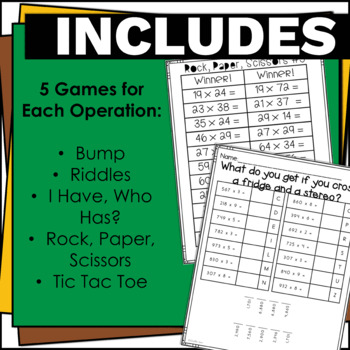 4.NBT.5 and 4.NBT.6 Mega Bundle Multiplication and Division Activities and Games