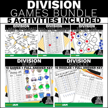 4.NBT.6 Division Games and Activities Bundle for Math Centers & Groups