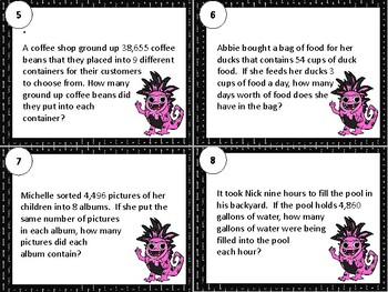 4.NBT.B.6 Division Word Problems (Multi-digit by One-digit) Math Task Cards