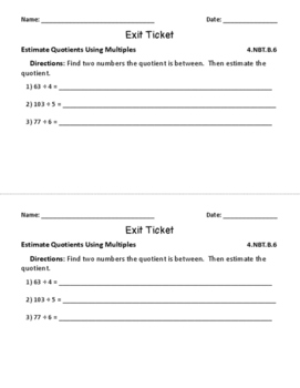 4.NBT.B.6: Division by 1-Digit Numbers, Fourth Grade, Exit Tickets & More