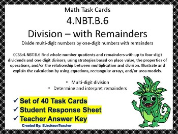 4.NBT.B.6 Division with Remainders (Multi-digit by One-digit) Math Task Cards