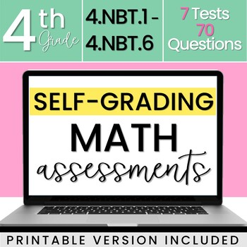 SELF GRADING 4th Grade Math Tests Numbers And Base Ten