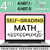 Distance Learning: SELF-GRADING 4th Grade Math Tests - All NBT Standards