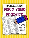 4.NBT Place Value Practice: PARCC Bubble Practice {4.NBT.1, 4.NBT.2, 4.NBT.3}