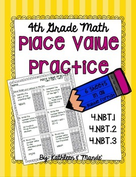 4.NBT Place Value Practice: PARCC Bubble Practice {4.NBT.1, 4.NBT.2, 4.NBT.3}