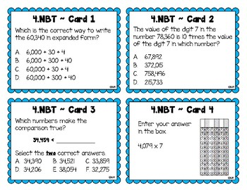 4.NBT Test Prep Task Cards {Numbers & Base Ten 4.NBT.1-6}