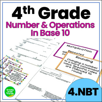 Number and Operations in Base Ten Activities: 4.NBT Practice, Prep, Task Cards