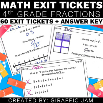 4.NF.1, 4.NF.2, 4.NF.3, 4.NF.4, 4.NF.5, 4.NF.6, 4.NF.7 Exit Tickets, Math, 4