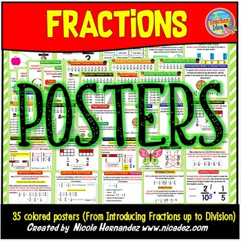 4.NF.1 & 4.NF.2 Fractions Poster Set (From Introducing Fractions to Division)