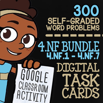 4.NF.1-4.NF.7 Self-Graded Google Classroom Fractions Activities 4th Grade Bundle