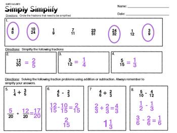 4.NF.1 & 5.NF.1 Simply Simplify