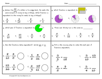 4.NF.1 - Equivalent Fractions (Practice, Assessment, and Activity..)