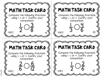 4.NF.2 4th Grade Math Task Cards (Comparing Fractions)