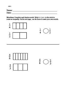 4.NF.A.2 Comparing Fractions Unlike Denominators With Models Special Ed