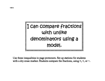 4.NF.2 Comparing Fractions with Unlike Denominators with Models; Special Ed