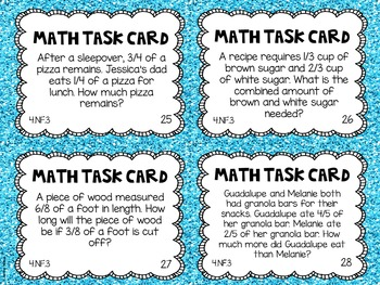 4.NF.3 4th Grade Math Task Cards (Adding and Subtracting Fractions)