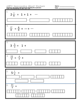 4.NF.3 Decomposing Mixed Numbers