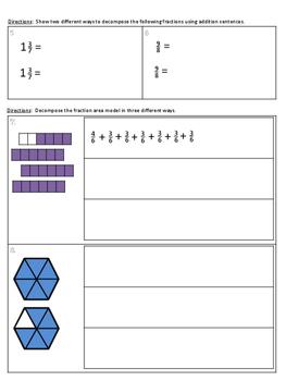 4.NF.3 Decomposing Mixed Numbers Practice/Homework