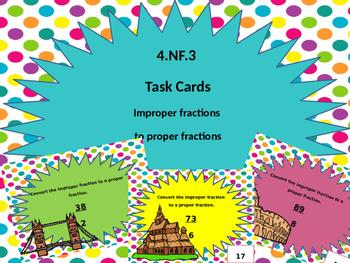 4.NF.3 Improper to Proper Fraction Task Cards