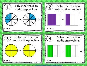 4.NF.3 Task Cards ⭐ Adding and Subtracting Fractions Centers