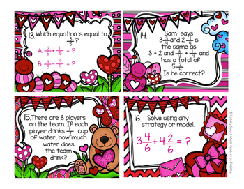 4.NF.3 Valentine Seat Scoot Class Activity- Adding and Subtracting Fractions
