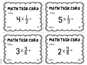 4.NF.4 4th Grade Math Task Cards (Multiplying Fractions by Whole Numbers)
