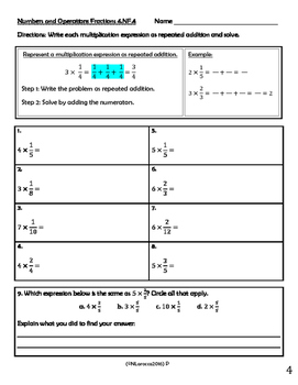 4.NF.4 Practice, Homework, and Activities 4th Grade Common Core Math