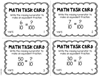4.NF.5 4th Grade Math Task Cards (Fractions with Denominators of 10 and 100)