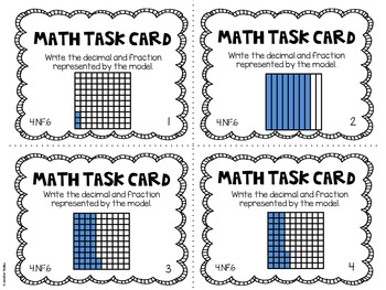 4.NF.6 4th Grade Math Task Cards (Relating Fractions and Decimals)