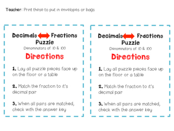 4.NF.6 - Fraction to Decimal Puzzle Pieces