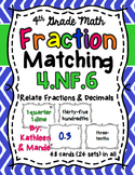 4.NF.6 Matching Cards: Relating Fractions & Decimals