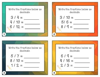 4.NF.6 - Relating Fractions and Decimals Worksheets + Taskcards
