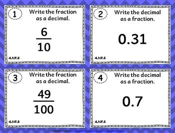 4.NF.6 Task Cards: Fractions and Decimals Task Cards 4.NF.6: Fraction to Decimal