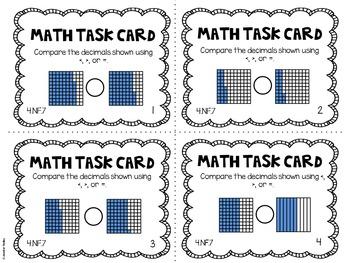 4.NF.7 4th Grade Math Task Cards (Comparing Decimals)