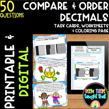 4.NF.7 Compare Decimal Task Cards, Worksheets and Coloring Page