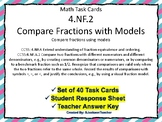 4.NF.A.2 Compare Fractions with Models Task Cards