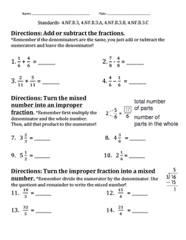 4.NF.B.3, 4.NF.B.3.A-C Fractions, Mixed Numbers, & Improper Fractions Worksheet