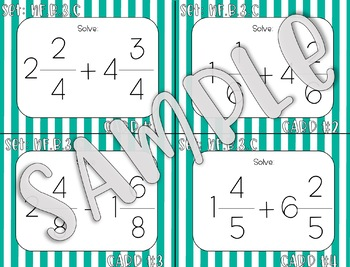 4.NF.B.3.C Add and Subtract Mixed Fractions Task Cards