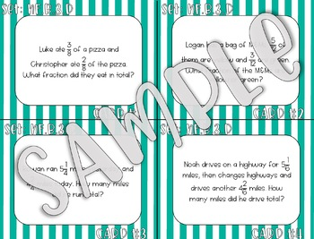 4.NF.B.3.D Add and Subtract Fraction Word Problems Task Cards