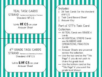 4.NF.C.5 10 and 100 Denominators Task Cards