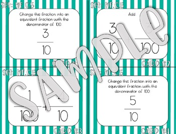4.NF.C.5 10 and 100 Denominators Task Cards