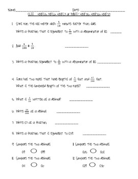 4.NF.C.5, 4.NF.C.6, & 4.NF.C.7 Worksheet (Practice/Homework/Quiz)