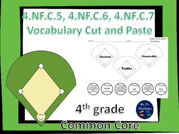 "4.NF.C.7 Vocabulary ""Cut and Paste"" 4th grade"
