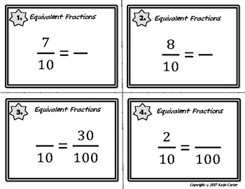 4.NF Decimal to Fractions Task Cards